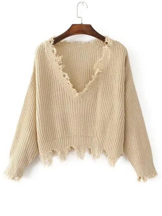 shop Loose Ripped V Neck Sweater - KHAKI ONE SIZE