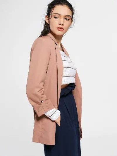 Zaful Invisible Pockets Lapel Blazer