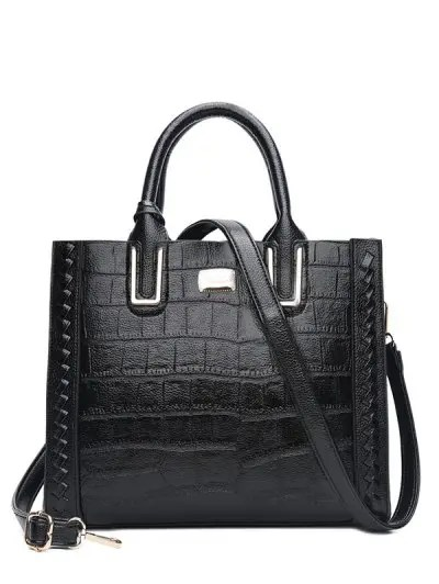 Metal Embellished Weave Tote Bag
