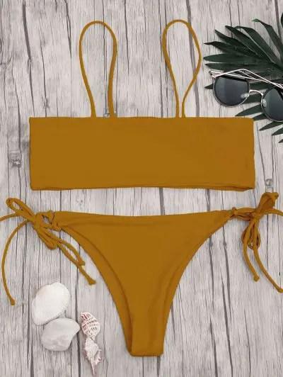 Zaful Bandeau Bikini Top and Tieside String Bottoms