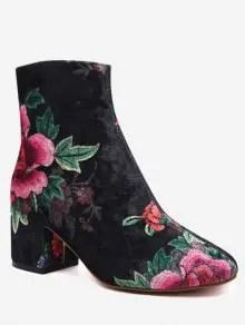 Zaful Velvet Block Heel Floral Pattern Short Boots - Black $37.95