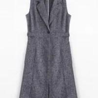 Metal Rings High Slit Long Waistcoat CADETBLUE/GRAY