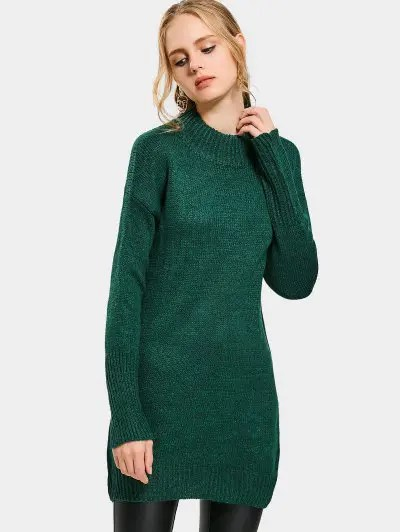 Zaful High Neck Drop Shoulder Long Sweater