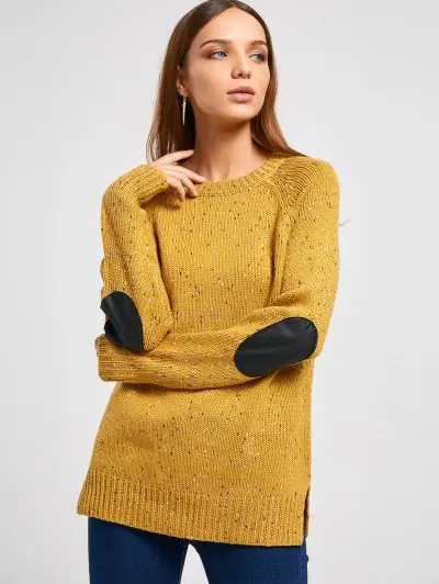 Zaful Elbow Patch Back Buttons Colormix Sweater