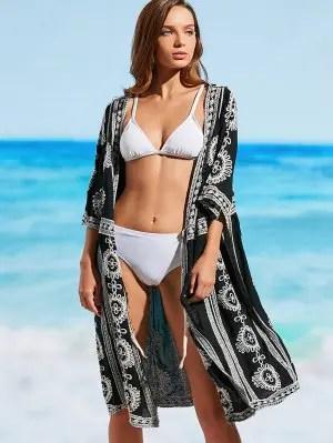 Longline Embroidered Beach Kimono - Black