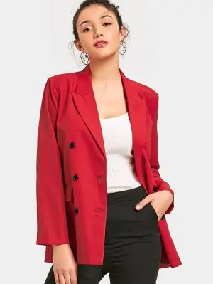 Long Sleeve Double-breasted Blazer - Red L