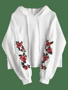 Floral Star Embroidered Patch Drawstring Hoodie