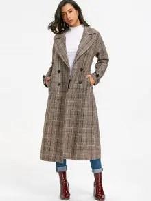 Sélection shopping automne chez Zaful Double Breasted Plaid Trench Coat - Khaki Grey M