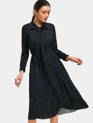 Vestido de bolinhas plissadas com bolinhas - Preto M