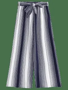 Ninth Bowknot Stripes Wide Leg Pants