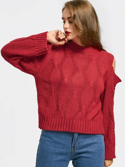 Zaful Cold Shoulder Plain Sweater