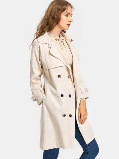 Zaful Snap Button Back Slit Belted Coat