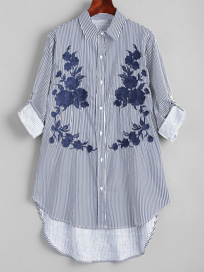 High Low Embroidered Stripes Shirt