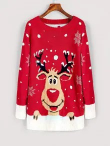 Elk Snowfakes Pullover Christmas Sweater