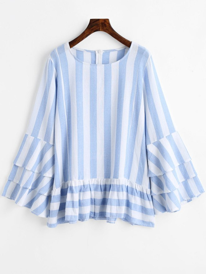 Tiered Flare Sleeve Ruffles Striped Blouse