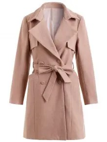 Double Breasted Belted Coat with Pockets