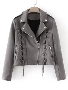Lace Up Cropped Faux Suede Jacket