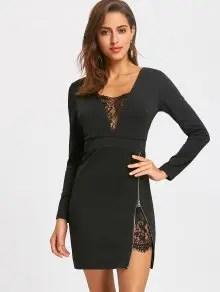 Lace Trim Zip Side Mini Dress