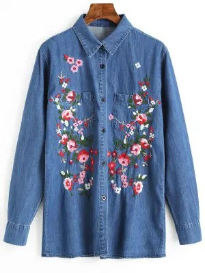 Button Up Floral Embroidered Denim Shirt - Blue M