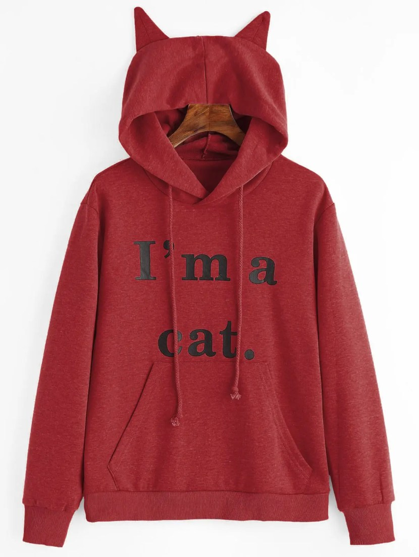 Front Pocket Letter Graphic Cat Hoodie