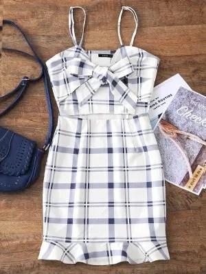 Firstgrabber Cut Out Bowknot Plaid Mini Dress