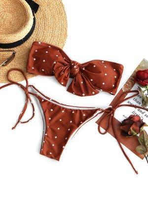 Conjunto de biquíni auto-amarrado Knot Bandeau - Vermelho-tijolo S