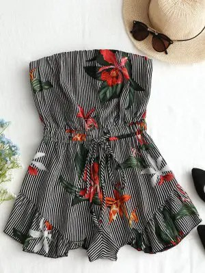 Firstgrabber Striped Floral Ruffles Strapless Romper