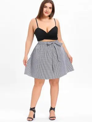 Firstgrabber Plus Size Tied Bowknot Checked Skirt