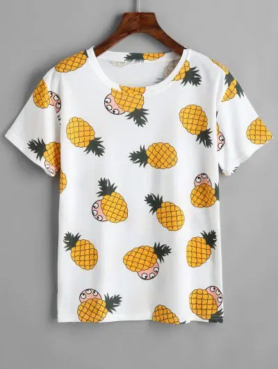 Zaful Round Collar Pineapple Print Tee