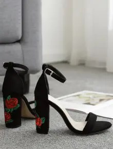 Floral Embroidery Ankle Strap Sandals