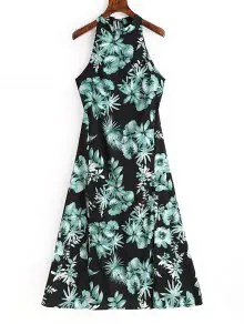 Floral Print Backless Sleeveless Dress