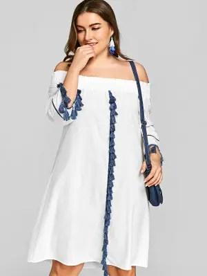 Firstgrabber Plus Size Off Shoulder Smocked Tassels Dress