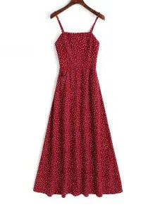 Smocked Panel Polka Dot Maxi Dress