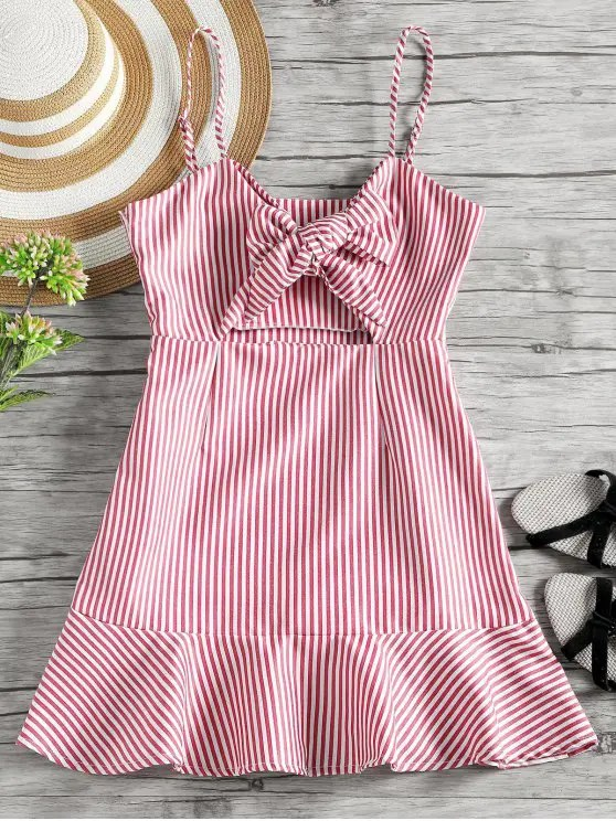 women Self Tie Bowknot Striped Cami Dress - RED S