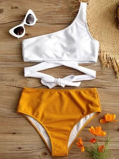 Zaful One Shoulder Two Tone Bikini Set