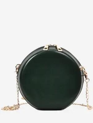 Mala Rígida em Formato Redondo Mini Bolsa Crossbody - Dark Forest Green