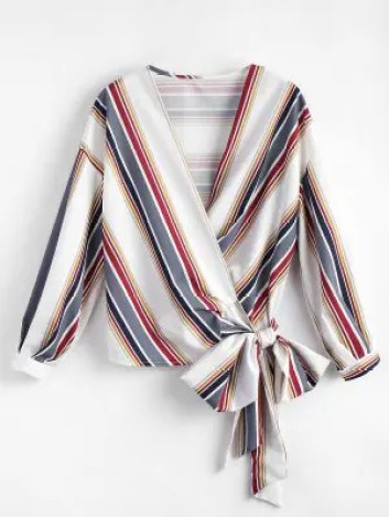 Firstgrabber Cropped Wrap Striped Top