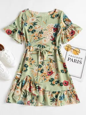 Floral Ruffle Hem Shift Dress - Frog Green M
