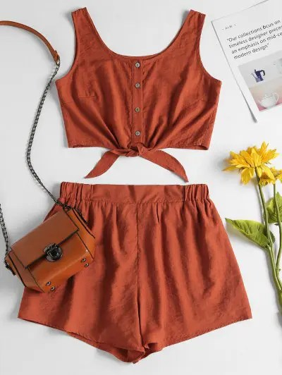 zaful Sleeveless Button Up Crop Top and Shorts Set