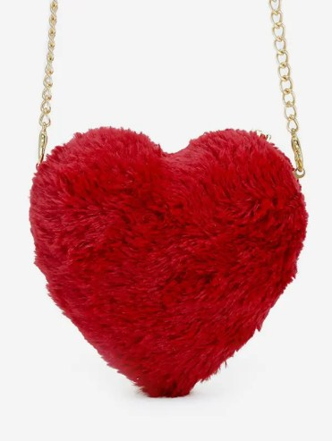 Faux Fur Heart Shape Crossbody Bag