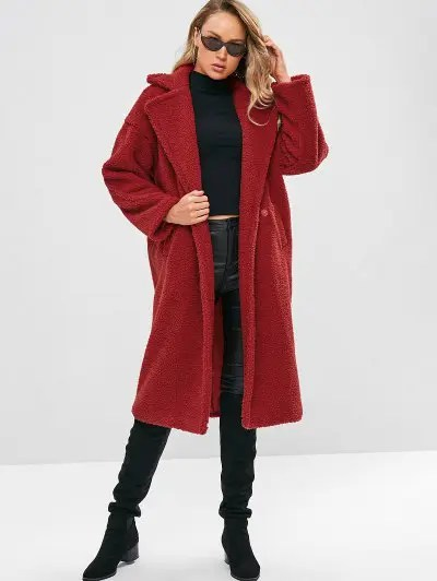 Long Faux Shearling Winter Coat - Red L