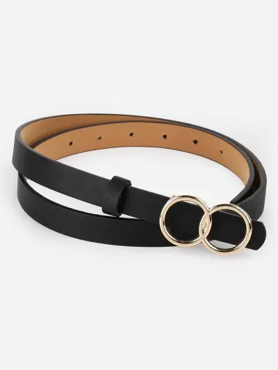 Vintage Infinity Rounded Buckle Faux Leather Belt