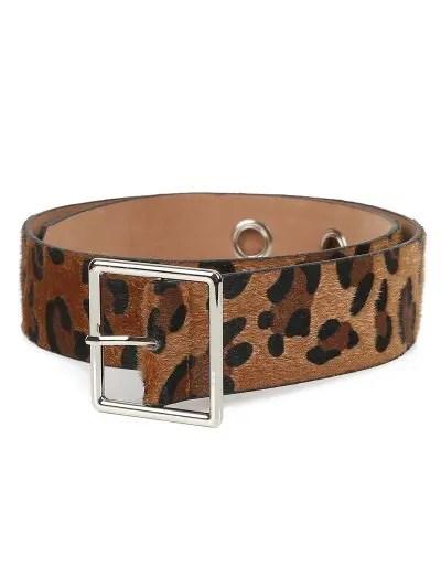 Metal Pin Buckle Leopard Wide Belt