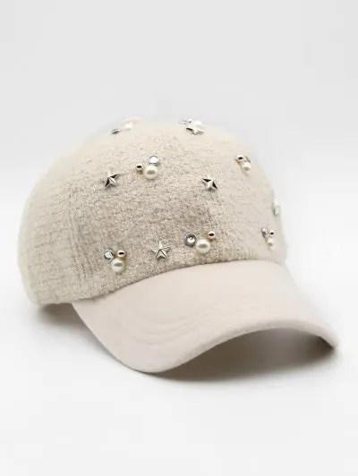 Faux Pearl Star Rivet Baseball Hat