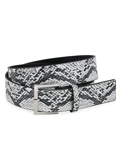 Retro Metal Pin Buckle Snake Pattern Waist Belt