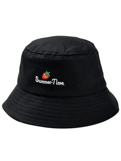 Strawberry Embroidered Bucket Hat