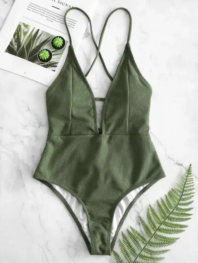 Zaful Lace Up Crisscross Ribbed Swimsuit Camouflage Green M