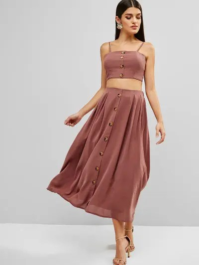 ZAFUL Knotted Buttoned Cami Top And Skirt Set - Lipstick Pink L