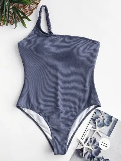 ZAFUL Ribbed Braided One Shoulder One-piece Swimsuit