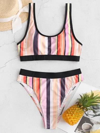 ZAFUL Colorful Striped Piping High Cut Tankini Swimsuit